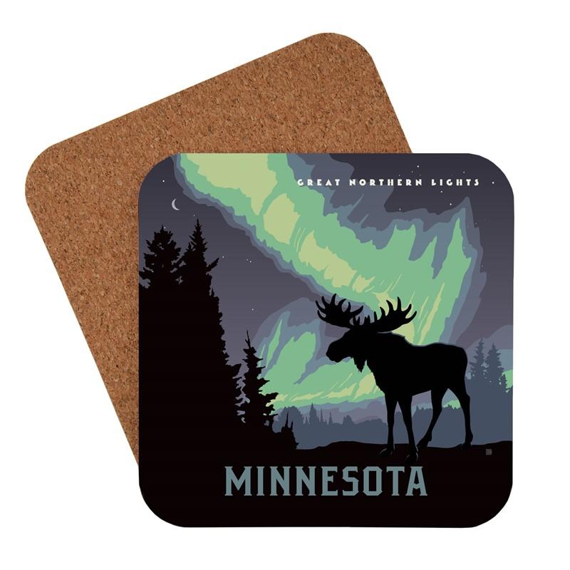 Mn Northern Lights Moose American Made Coaster